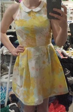 Sonja dress with peter pan collar, refashioned from a vintage bed sheet