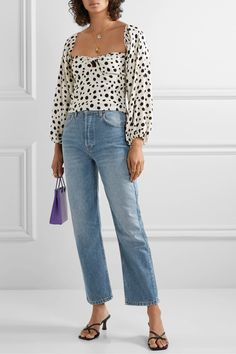 Blue Cynthia cropped high-rise straight-leg jeans | Reformation | NET-A-PORTER