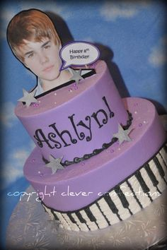 "Justin Bieber Birthday Cake - 6""-9"" rounds; all buttercream made for my niece for her 8th birthday!  The stars and placque on top are inedible keepsakes (for her bulletin board)!  The tiny pearls are sugar."