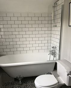 [ Shower Screen Single Ended Roll Top Bath Traditional Panelled Cottage Bathroom ] - Best Free Home Design Idea & Inspiration Attic Bathroom, Upstairs Bathrooms, Grey Bathrooms, Mosaic Bathroom, Attic Rooms, Modern Bathroom, Master Bathroom, Bathroom Design Small, Bathroom Layout