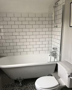 [ Shower Screen Single Ended Roll Top Bath Traditional Panelled Cottage Bathroom ] - Best Free Home Design Idea & Inspiration House Bathroom, Bathroom Redesign, Shower Over Bath, Bathroom Styling, Freestanding Bath With Shower, Gray Bathroom Decor, Bathroom Design Small, Cottage Bathroom, Bathroom Decor