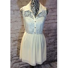 BEAUTIFUL DRESS BY RHAPSODY Pretty cream colored dress with lace collared top and gold buttons   Gently used Rhapsody Dresses Mini
