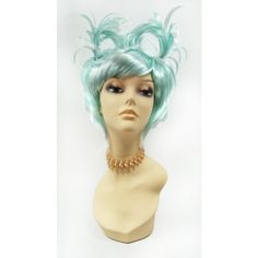 Short Wild Aqua Blue Wig W Pigtails Fun Novelty Fashion Costume Wig... ($40) ❤ liked on Polyvore featuring costumes, bath & beauty, hair care, silver, wigs, wig costumes, cosplay halloween costumes, animal costumes, animal halloween costumes and role play costumes