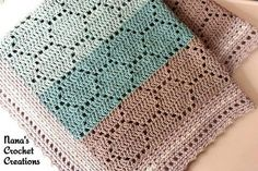 An easy to memorize pattern repeat makes a cute and cheery baby blanket. Pattern can be easily enlarged by adding multiples of 18 to the starting chain. #crochetafghans