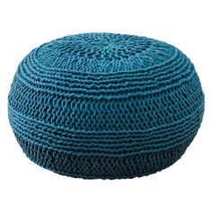 {Moroccan Pouf in Blue} roped cotton knit 'pouf' - ottoman, side table, or even cozy spot for a kittycat! :)