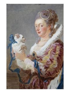 Art Print: Portrait of a Woman with a Dog Poster by Jean-Honoré Fragonard : 24x18in