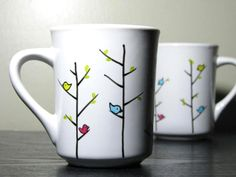 Hand Painted Mugs Colorful Birds Set of 2 by PrettyMyDrink on Etsy
