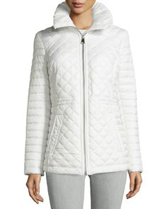 Marc by Andrew Marc New York Emma Hooded Quilted Puffer Jacket, White, Women's, Size: XS
