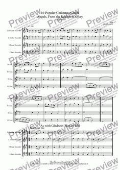 10 Popular Christmas Carols for recorder quartet DTTB/SATB - Quartet (Descant Recorder) by Various arr. Ray Thompson - Download Sheet Music PDF file