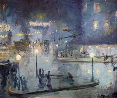 The Roman Square at Night - Theodore Earl Butler (American , 1861-1936) Impressionism