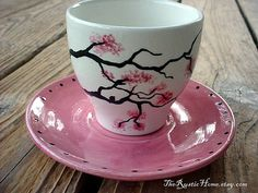 Ready to ship Cherry blossoms teacup and saucer by TheRusticHome   All Rights Reserved.