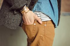 Yellowish pants, striped undershirt, denim shirt, tweed blazer. #men #style #fashion