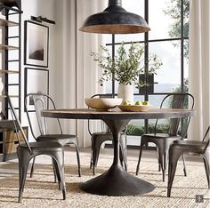 RH's Aero Round Dining Table: As a tribute to the curved lines of mid-century furniture, our tab Round Dining Table, Dining Room Table, Dining Rooms, Porch Table, Furniture Vanity, Fine Furniture, Luxury Dining Room, Home Hardware, Side Chairs