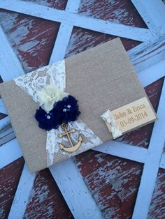 nautical wedding / burlap  Wedding Guest book , custom guest book / You PICK COLoRS /  name book ,  rustic guest book on Etsy, $42.99 @Brittany Morgan  this is so cute