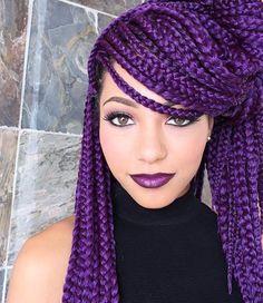 "IG: @beauty_depot Crochet/Box Braids using Janet Collection 3S Havana Medium Mambo Box Braids 24"" (8 packs - Color: #D Purple)"