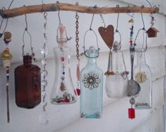 Example of Made when ordered Bottle Chime/Vintage Bottles bottle crafts hanging Your place to buy and sell all things handmade Altered Bottles, Vintage Bottles, Bottles And Jars, Apothecary Bottles, Small Bottles, Glass Bottles, Reuse Bottles, Empty Perfume Bottles, Bottle Art