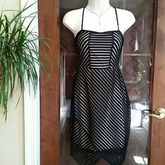 "NWT Stylish Mesh Striped Black Dress Size L New With Tag Mesh Striped Black Dress with Nude Contrast from Charlotte Russe.  Size L,  36"" Length,  28-30"" Waist,  34"" Bust. 93% Polyester / 7% Spandex. Contrast 100% Polyester ■■■ Available in Size S & XL also■■■ Size XL ( Length 36""/ Waist 32-33"" / Bust 36-37"") Size S  ( Length 36"" / Waist 24"" / Bust 28"" ) Charlotte Russe  Dresses Midi"
