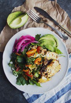 Sallad med limedressing och marinerad tofu