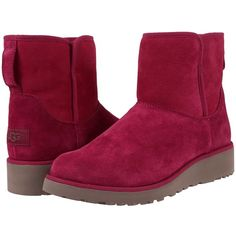 UGG Kristin (Lonely Hearts) Women's  Boots ($150) ❤ liked on Polyvore featuring shoes, boots, mid-calf boots, synthetic boots, calf length boots, slip-on shoes, platform boots and platform slip on shoes