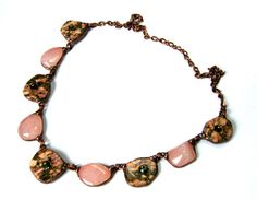 +Necklace:+jasper+and+quartz+pink+from++Witrażka+-+jewelry+made+of+semiprecious+stones+by+DaWanda.com