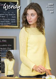 6c58fd17d Mesh Sleeve Sweater in Wendy Supreme Luxury Cotton DK. Jumper Knitting  PatternKnitting ...