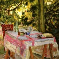 Bonnard, Pierre (1867 -1947,French). Believe I read that this artist attended a garden party...went home and painted the scene as he remembered it.  Wish we had been invited.