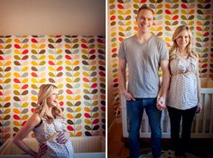 This is a cute photo in the nursery pre baby. I like the patterned fabric behind the crib. Looks like fabric over a board; not as permanent as actual wallpaper...