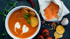 Healthy Recipe: Thick and Hearty Red Lentil Soup. A pressure cooker or Instant Pot recipe that's filling and delicious! Lentils provide nourishment and are low in calories and fat. Warm up with a bowl of this tasty and hearty red lentil soup recipe. Coconut Lentil Soup, Lentil Soup Recipes, Red Lentil Soup, Vegetarian Recipes, Healthy Recipes, Vegan Soup, Easy Delicious Recipes, Roasted Tomatoes, Lentils