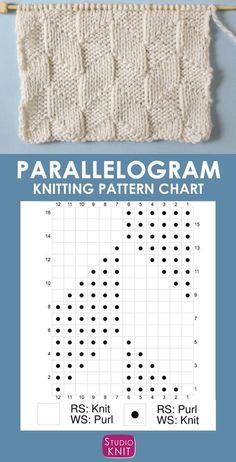 The Parallelogram Stitch Pattern creates a modern texture of interconnecting diagonal angles. - Knitting Chart Patterns - The Parallelogram Stitch Pattern creates a modern texture of interconnecting diagonal angles. Knitting Charts, Loom Knitting, Knitting Stitches, Free Knitting, Knitting Machine, Vintage Knitting, Knitting Patterns, Crochet Patterns, Lace Patterns