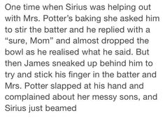 Sirius and Mrs. Potter - his mum