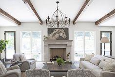 Morgan Harrison Home - living rooms - chic living room, herringbone firebox, stone fireplace, large fireplace, tall fireplace, horse art, ho...