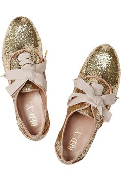 RED Valentino | Glitter-finish lace-ups | NET-A-PORTER.COM