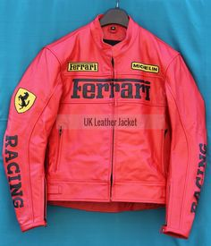 Red Ferrari Brand Motorcycle Leather Jacket Black Color with Safety Gear  #Leather Jacket; #Men Leather Jacket; #Biker Leather Jacket; #Fashion; #Motorcycle Leather Jacket; #Handmade; Uk; Usa; Canada;