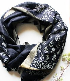 1f4495e19a9f1 Black and gold cotton silk stole hand block printed with Indian flower  patterns by artisans from