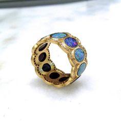 Lauren Harper Boulder Opal Disc Diamond Matte Gold Eternity Band Ring (Special Order) - Szor Collections - 2