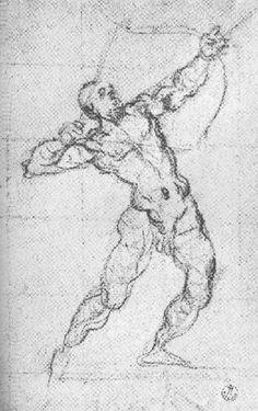 Tintoretto,  Archer,  1580s.  Charcoal,  32.2 x 20.7 cm.  Uffizi,  Florence.