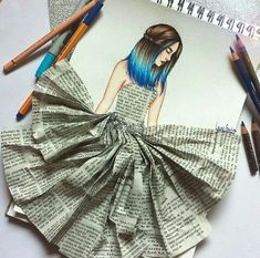 Newspaper Dress In Women& Drawing - Newspaper Dress In Women& Drawing - Dress Design Sketches, Fashion Design Sketchbook, Art Drawings Sketches Simple, Fashion Design Drawings, Fashion Sketches, Abstract Pencil Drawings, Cartoon Drawings, Cartoon Art, Cartoon Characters