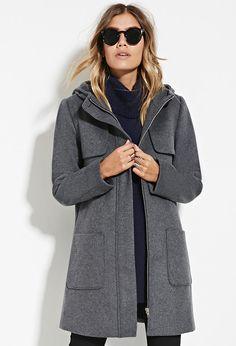Hooded Wool-Blend Coat | Forever 21 - 2000140609