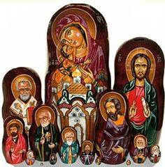 For some, the most touching of all nesting dolls are the ones that display the historic religious icons of Russia. The example shown here is quite a stunning one of this particular artform and features the Mother and Child, Jesus Christ and important patron saints. Some of the icons these images are based upon are said to predate the Dark Ages.