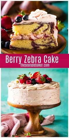 This Berry Zebra Cake with Berry Buttercream Frosting is so light and pretty.  Featuring delectable swirls of yellow and berry cake with an airy and sweet triple berry buttercream layer, Berry Zebra Cake is an indulgent treat that is not too heavy or intense. | #zebracake #berryrecipe #dessertrecipe