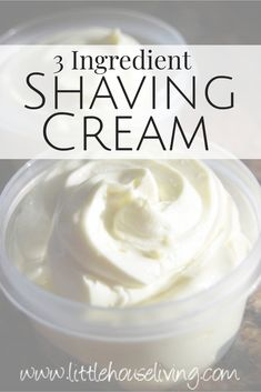 Easy Homemade Shaving Cream - The Best DIY 3 Ingredient Recipe! - - Have you ever wanted to make your own shaving cream? It can be done with just 3 ingredients and this easy Homemade Shaving Cream Recipe! Natural Shaving Cream, Homemade Shaving Cream, Homemade Shampoo, Homemade Conditioner, Homemade Body Lotion, Best Shaving Cream, Homemade Face Moisturizer, Hair Conditioner, Whipped Coconut Oil