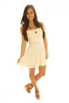 Bow & Tell Lace Dress-Ivory