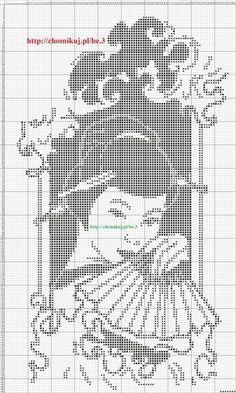 0 point de croix monochrome geisha - cross stitch Filet Crochet, Crochet Cross, Crochet Chart, Crochet Motif, Cross Stitch Geometric, Beaded Cross Stitch, Cross Stitch Charts, Cross Stitch Patterns, Seed Bead Patterns
