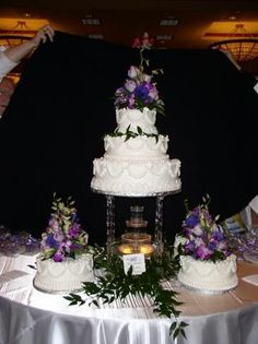 Wedding Cakes with Fountains | Bonnie Belles Pastries/WEDDING CAKES/FOUNTAIN CAKE --3 TIER AND SIDES