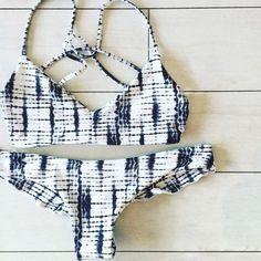 $25.99 Monochrome Geometric Print Bikini Set