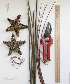 Плетем звезду — новогодний декор в рустикальном стиле - Ярмарка Мастеров - ручная работа, handmade