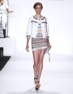 "Rebecca Minkoff Look 12: Tijuana Twill Andre Jacket in Chalk ""Brasil Ipanema"" T-Shirt Barrio Tweed Lola Skirt"