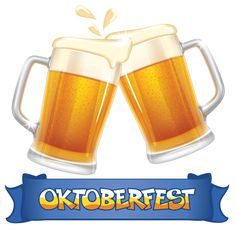 Oktoberfest Blue Banner and Beers PNG Clipart Image