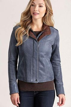 fd5a0961d4e63 Overland Sheepskin Co Rita Distressed Lambskin Leather Bomber Jacket at  Amazon Women s Coats Shop