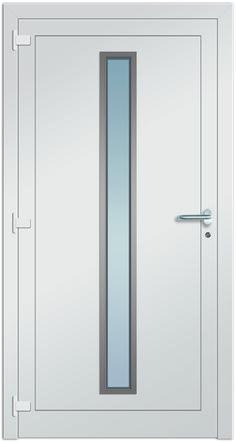 Haustürmodell Wasat 2 mit Edelstahlapplikation und Drücker - Innenansicht! Bei Fenster-Schmidinger jetzt erhältlich!